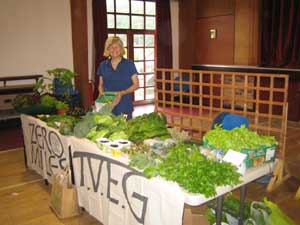 Sheila working at the Zero Miles stall at Knighton Farmers' Market